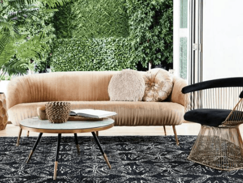 Otto and Chaise velvet sofa