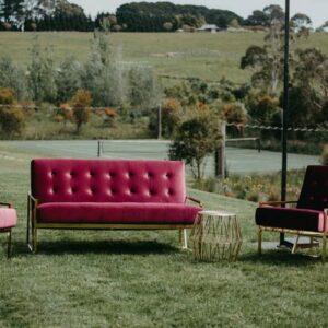 Luxe Velvet Sofa, 2 Seat, Magenta $190
